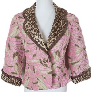 3 Sisters Pink And Brown tapestry Blazer Large